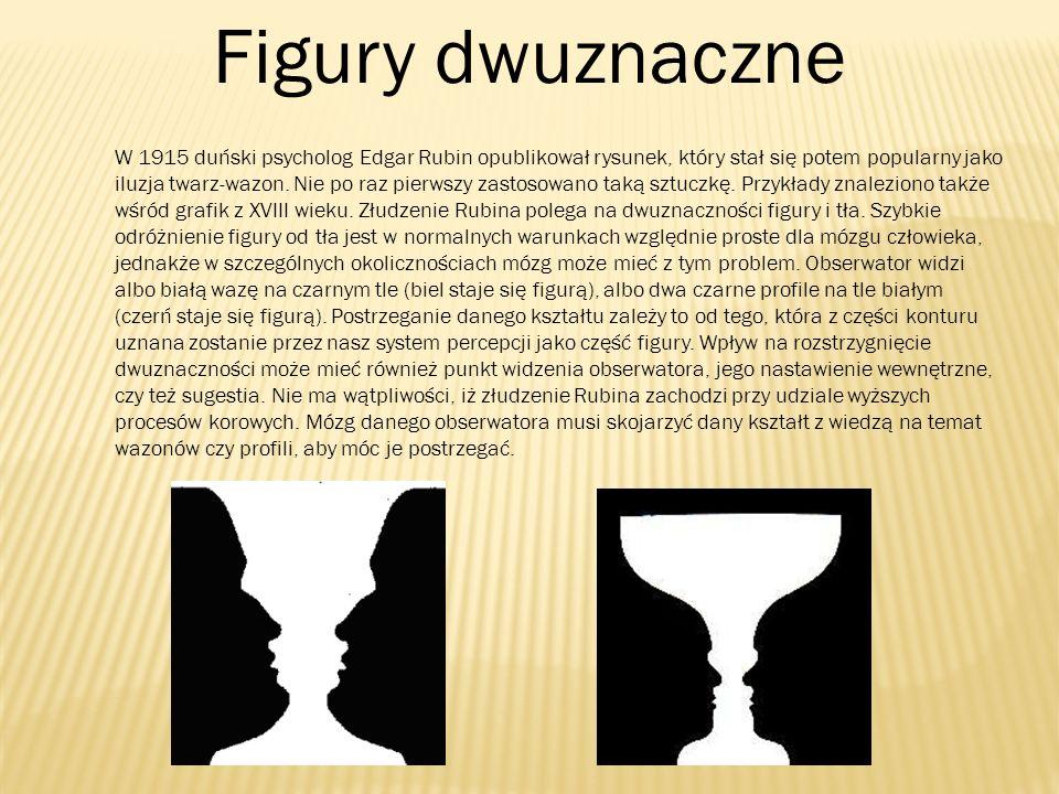 Figury dwuznaczne W 1915 duński psycholog Edgar Rubin opublikował rysunek, który stał się potem popularny jako iluzja twarz-wazon. Nie po raz pierwszy