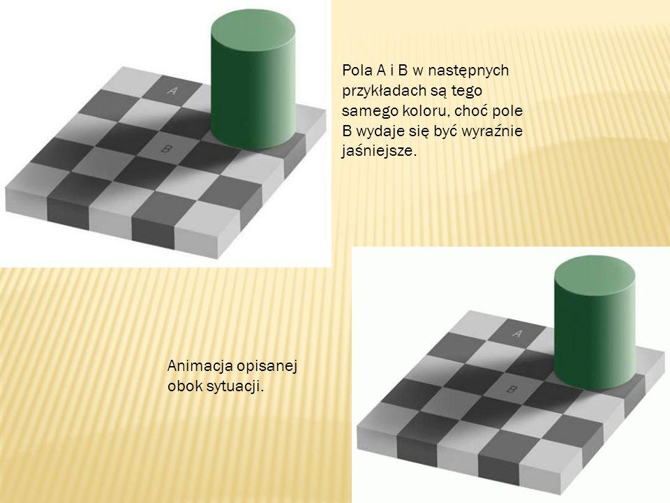 Pola A i B w następnych przykładach są tego samego koloru, choć pole B wydaje się być wyraźnie jaśniejsze. Animacja opisanej obok sytuacji.
