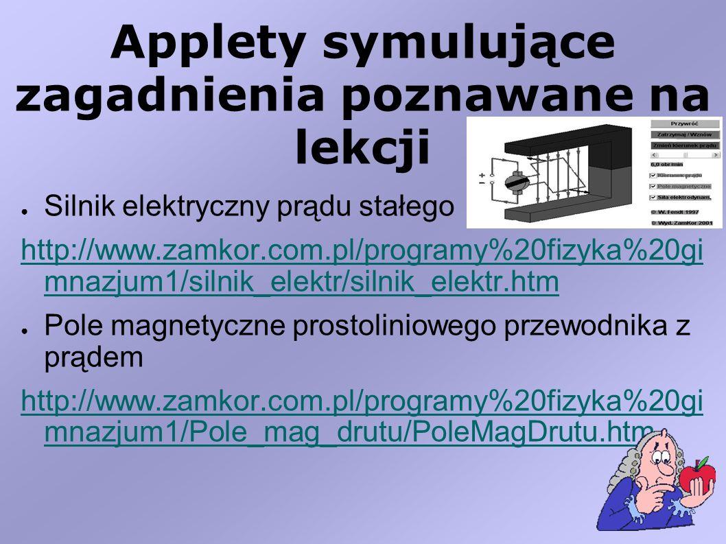 Applety symulujące zagadnienia poznawane na lekcji Silnik elektryczny prądu stałego http://www.zamkor.com.pl/programy%20fizyka%20gi mnazjum1/silnik_el