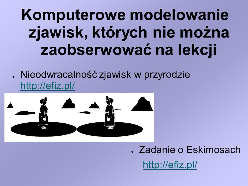 Zastosowanie symulacji komputerowej do procesów fizycznych, gdy nie można przeprowadzić odpowiednich doświadczeń Symulacja niebezpiecznych eksperymentów http://eduseek.interklasa.pl/artykuly/artykul/ida/4536/ Symulacja eksperymentów, których nie możemy przeprowadzić na lekcji http://www.colorado.edu/physics/2000/microwaves/m wintro.html