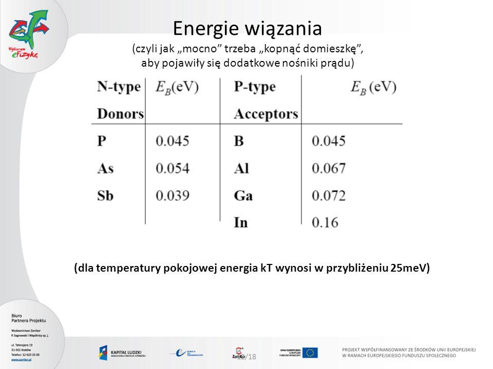 12/18 Energie wiązania (czyli jak mocno trzeba kopnąć domieszkę, aby pojawiły się dodatkowe nośniki prądu) (dla temperatury pokojowej energia kT wynos