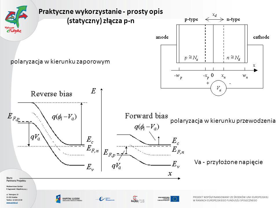 20/18 Praktyczne wykorzystanie - prosty opis (statyczny) złącza p-n polaryzacja w kierunku zaporowym polaryzacja w kierunku przewodzenia Va - przyłożo