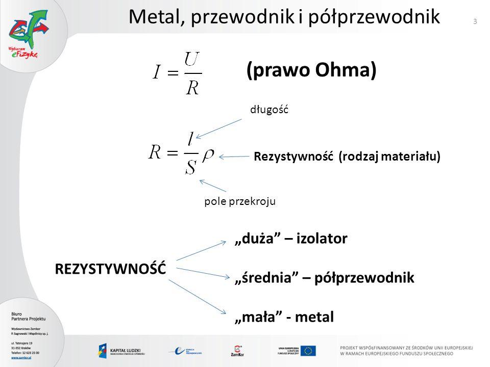 Metal, przewodnik i półprzewodnik 3 (prawo Ohma) długość pole przekroju Rezystywność (rodzaj materiału) REZYSTYWNOŚĆ duża – izolator średnia – półprze