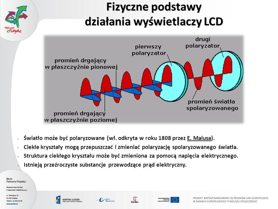 Światło może być polaryzowane (wł. odkryta w roku 1808 przez E. Malusa). Ciekłe kryształy mogą przepuszczać i zmieniać polaryzację spolaryzowanego świ