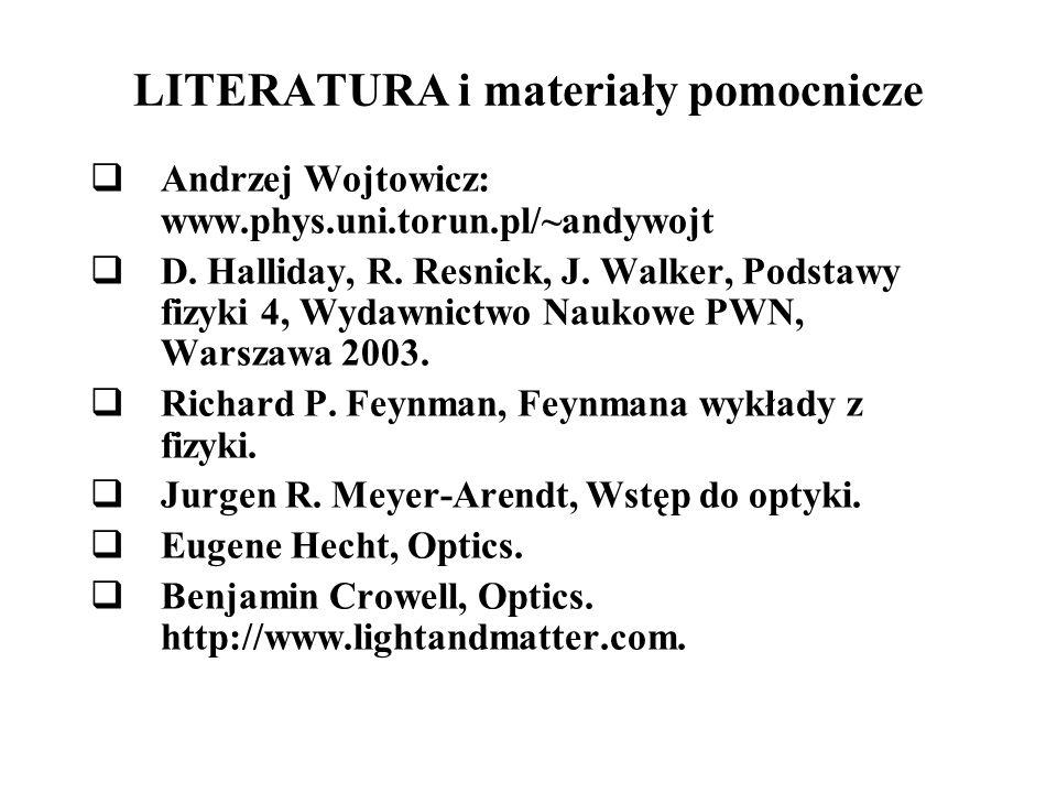 LITERATURA i materiały pomocnicze Andrzej Wojtowicz: www.phys.uni.torun.pl/~andywojt D. Halliday, R. Resnick, J. Walker, Podstawy fizyki 4, Wydawnictw