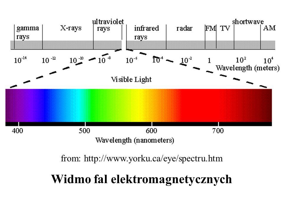 from: http://www.yorku.ca/eye/spectru.htm Widmo fal elektromagnetycznych