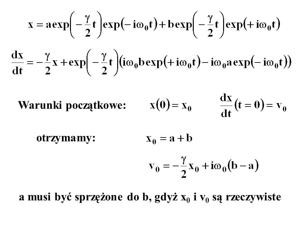 Warunki początkowe: otrzymamy: a musi być sprzężone do b, gdyż x 0 i v 0 są rzeczywiste