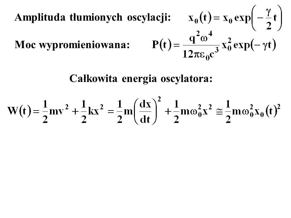 Amplituda tłumionych oscylacji: Moc wypromieniowana: Całkowita energia oscylatora: