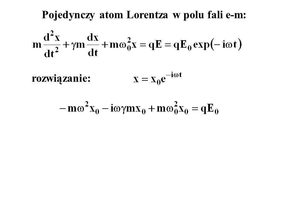 Pojedynczy atom Lorentza w polu fali e-m: rozwiązanie: