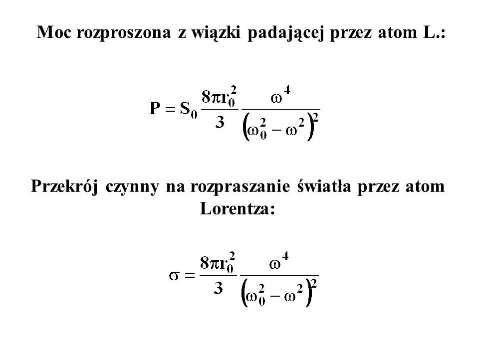 Przekrój czynny na rozpraszanie światła przez atom Lorentza: Moc rozproszona z wiązki padającej przez atom L.: