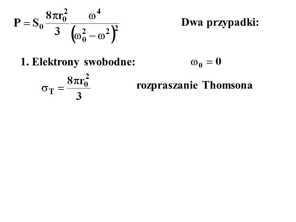 Dwa przypadki: 1. Elektrony swobodne: rozpraszanie Thomsona