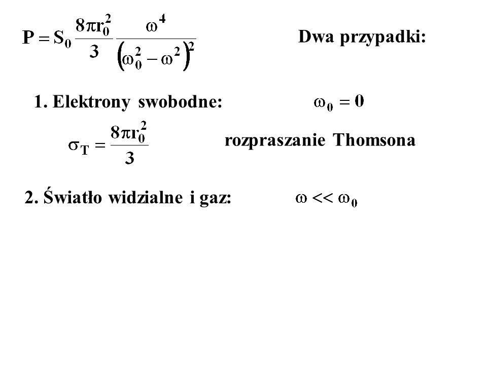Dwa przypadki: 1. Elektrony swobodne: rozpraszanie Thomsona 2. Światło widzialne i gaz: