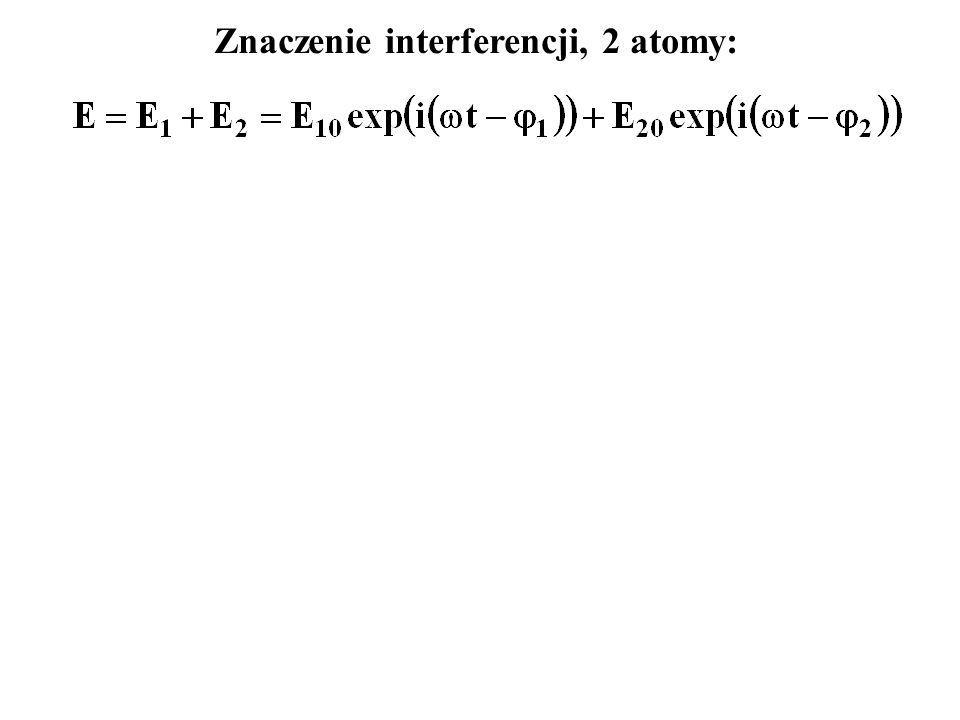 Znaczenie interferencji, 2 atomy: