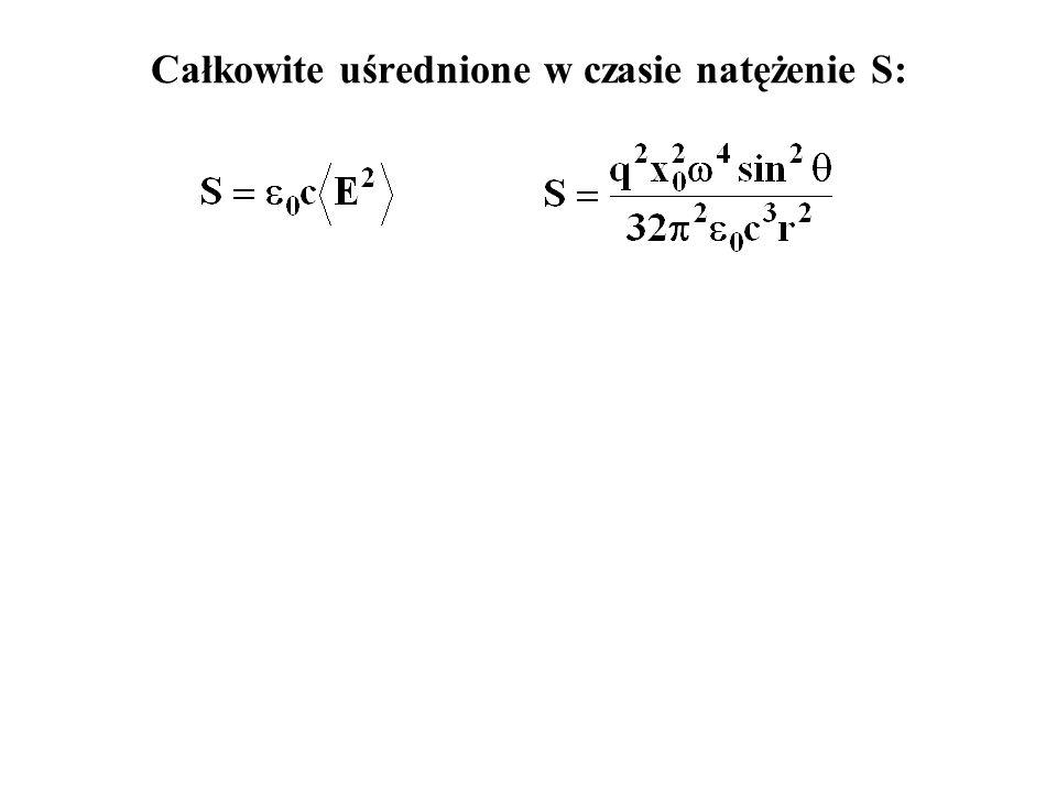 Pojedynczy atom Lorentza w polu fali e-m: rozwiązanie: zaniedbujemy tłumienie