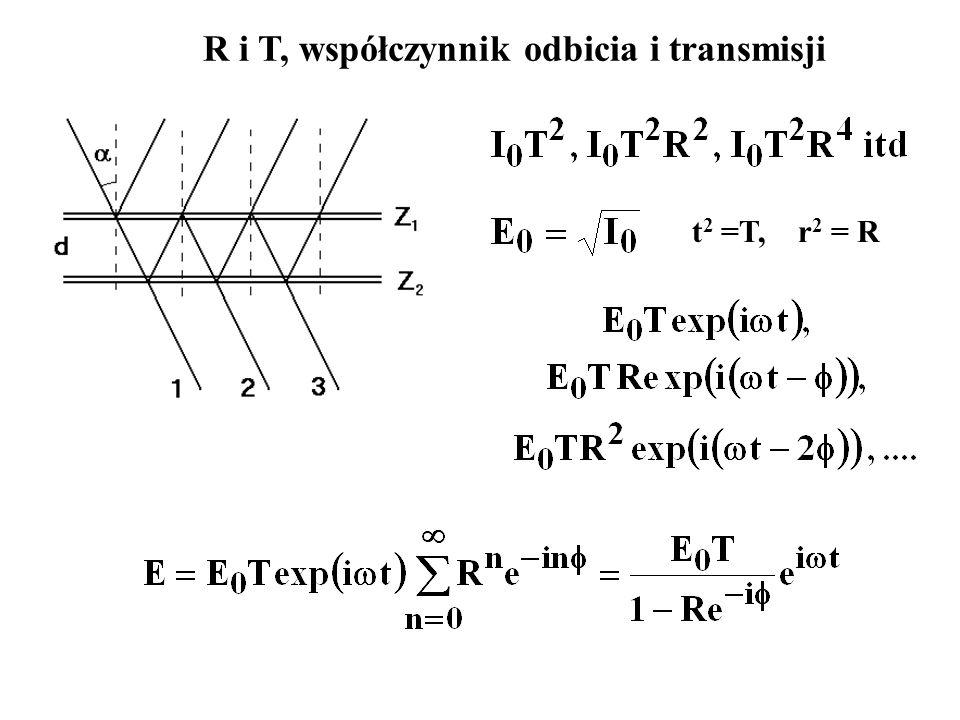 R i T, współczynnik odbicia i transmisji t 2 =T, r 2 = R
