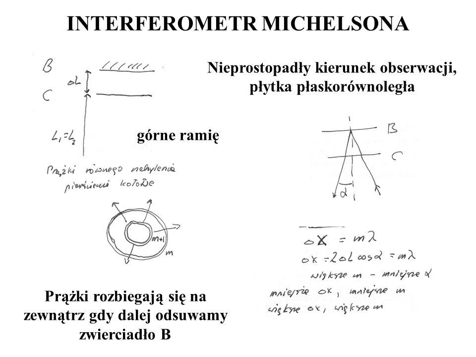 INTERFEROMETR MICHELSONA Nieprostopadły kierunek obserwacji, płytka płaskorównoległa górne ramię Prążki rozbiegają się na zewnątrz gdy dalej odsuwamy
