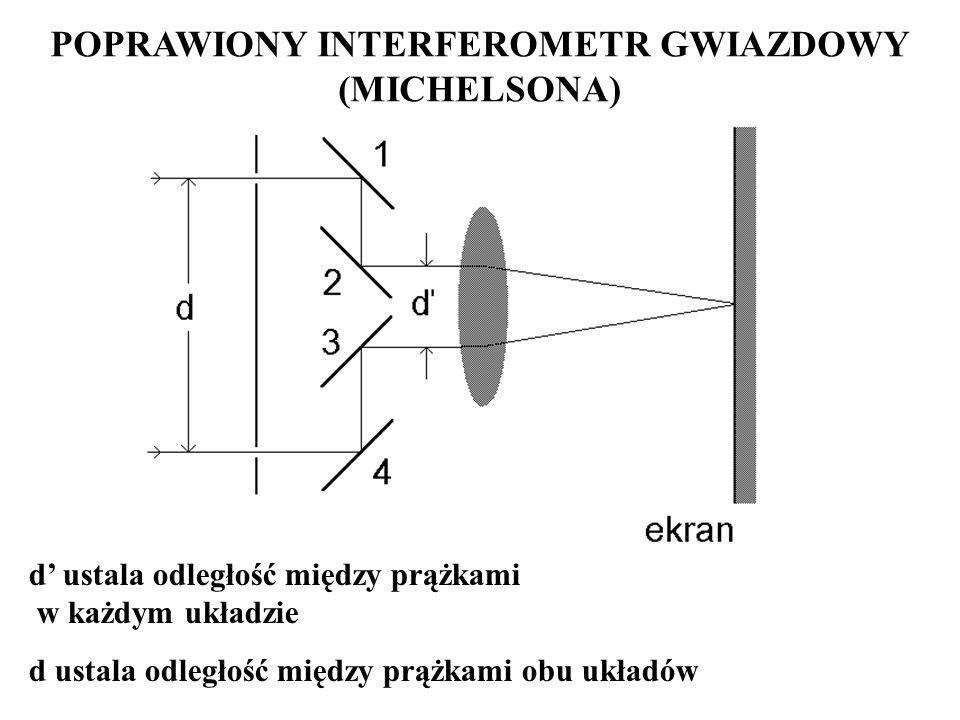 POPRAWIONY INTERFEROMETR GWIAZDOWY (MICHELSONA) d ustala odległość między prążkami w każdym układzie d ustala odległość między prążkami obu układów