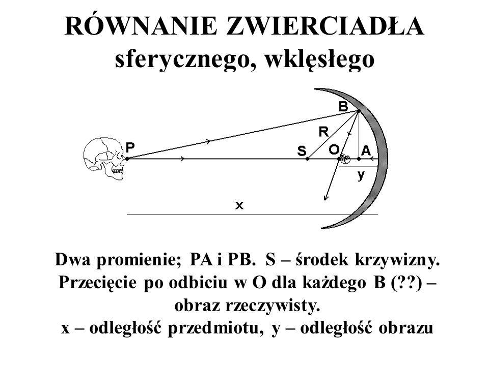 RÓWNANIE ZWIERCIADŁA sferycznego, wklęsłego Dwa promienie; PA i PB. S – środek krzywizny. Przecięcie po odbiciu w O dla każdego B (??) – obraz rzeczyw