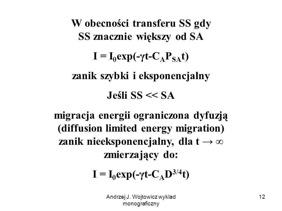 Andrzej J. Wojtowicz wyklad monograficzny 12 W obecności transferu SS gdy SS znacznie większy od SA I = I 0 exp(-γt-C A P SA t) zanik szybki i ekspone