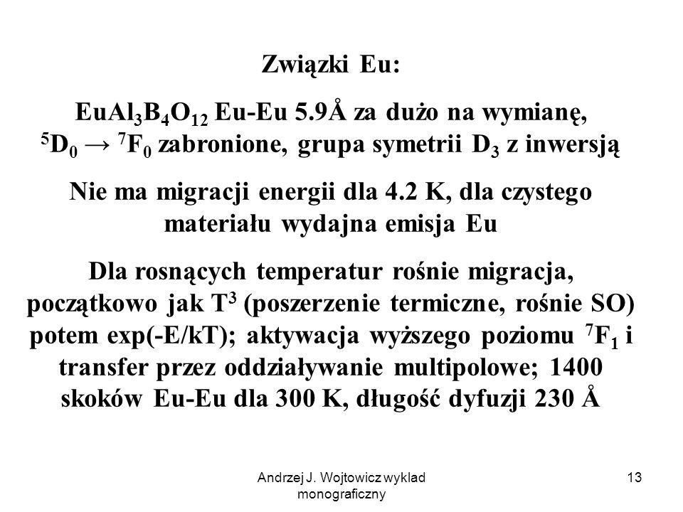 Andrzej J. Wojtowicz wyklad monograficzny 13 Związki Eu: EuAl 3 B 4 O 12 Eu-Eu 5.9Å za dużo na wymianę, 5 D 0 7 F 0 zabronione, grupa symetrii D 3 z i