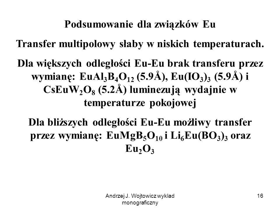 Andrzej J. Wojtowicz wyklad monograficzny 16 Podsumowanie dla związków Eu Transfer multipolowy słaby w niskich temperaturach. Dla większych odległości
