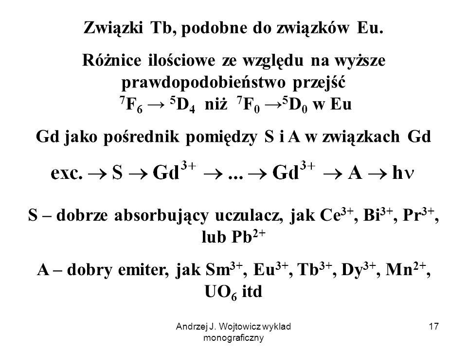 Andrzej J. Wojtowicz wyklad monograficzny 17 Związki Tb, podobne do związków Eu. Różnice ilościowe ze względu na wyższe prawdopodobieństwo przejść 7 F