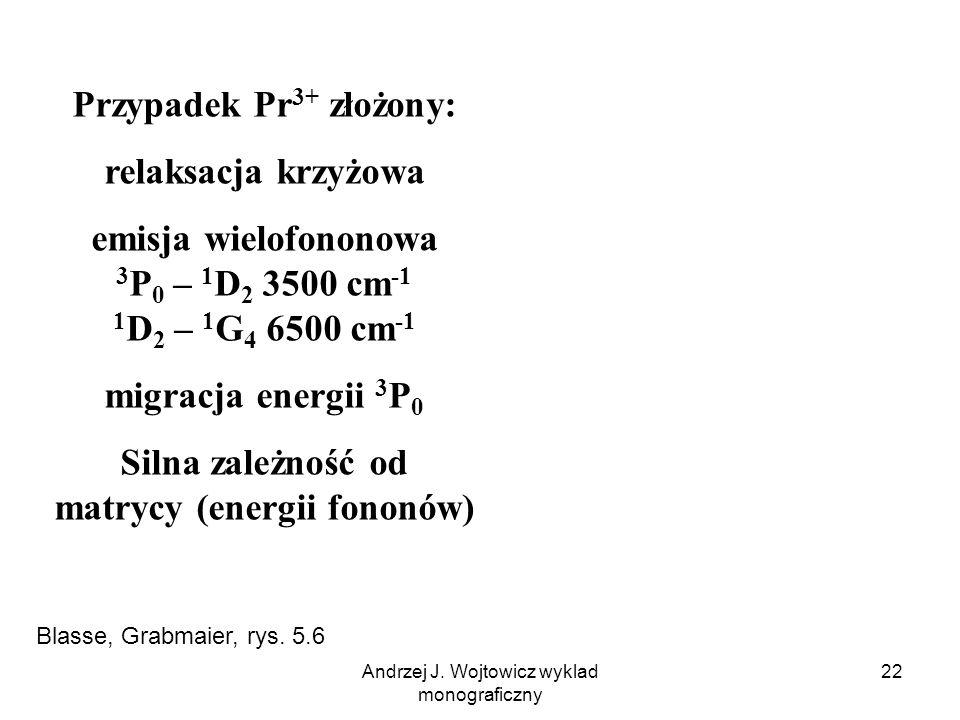 Andrzej J. Wojtowicz wyklad monograficzny 22 Przypadek Pr 3+ złożony: relaksacja krzyżowa emisja wielofononowa 3 P 0 – 1 D 2 3500 cm -1 1 D 2 – 1 G 4