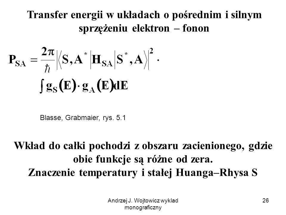Andrzej J. Wojtowicz wyklad monograficzny 26 Transfer energii w układach o pośrednim i silnym sprzężeniu elektron – fonon Blasse, Grabmaier, rys. 5.1