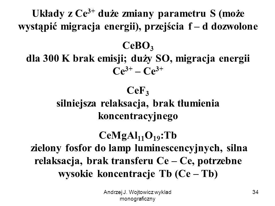 Andrzej J. Wojtowicz wyklad monograficzny 34 Układy z Ce 3+ duże zmiany parametru S (może wystąpić migracja energii), przejścia f – d dozwolone CeBO 3