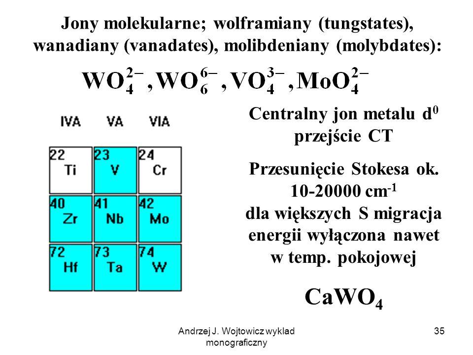 Andrzej J. Wojtowicz wyklad monograficzny 35 Jony molekularne; wolframiany (tungstates), wanadiany (vanadates), molibdeniany (molybdates): Centralny j