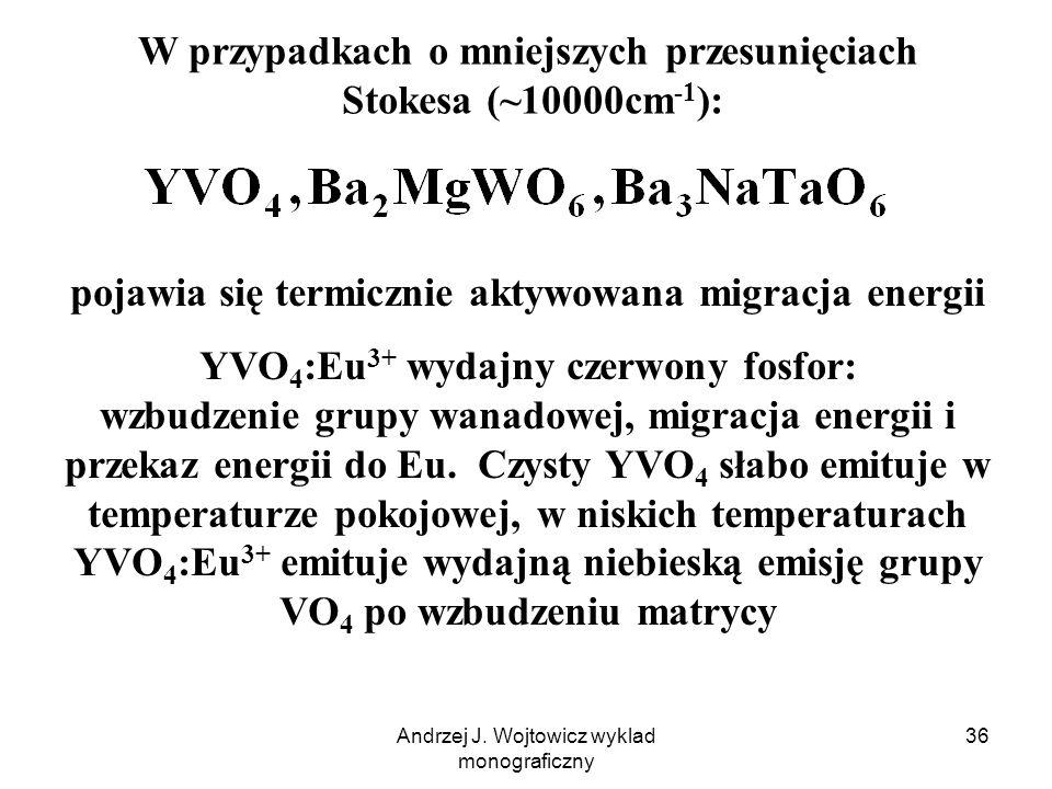 Andrzej J. Wojtowicz wyklad monograficzny 36 W przypadkach o mniejszych przesunięciach Stokesa (~10000cm -1 ): pojawia się termicznie aktywowana migra