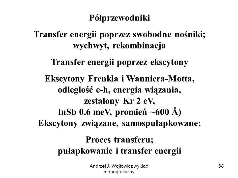 Andrzej J. Wojtowicz wyklad monograficzny 38 Półprzewodniki Transfer energii poprzez swobodne nośniki; wychwyt, rekombinacja Transfer energii poprzez