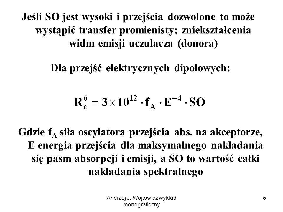 Andrzej J. Wojtowicz wyklad monograficzny 5 Jeśli SO jest wysoki i przejścia dozwolone to może wystąpić transfer promienisty; zniekształcenia widm emi