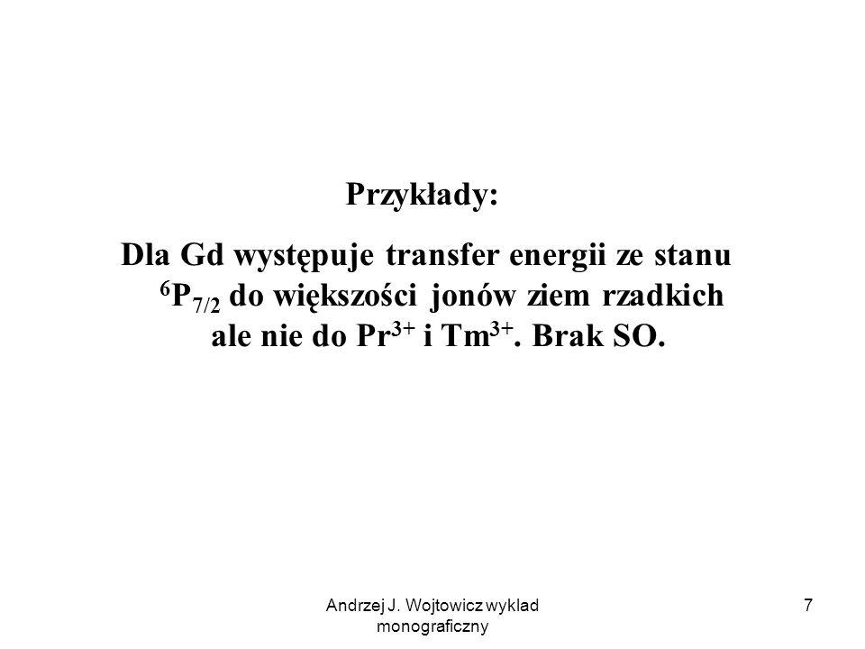 Andrzej J. Wojtowicz wyklad monograficzny 7 Przykłady: Dla Gd występuje transfer energii ze stanu 6 P 7/2 do większości jonów ziem rzadkich ale nie do