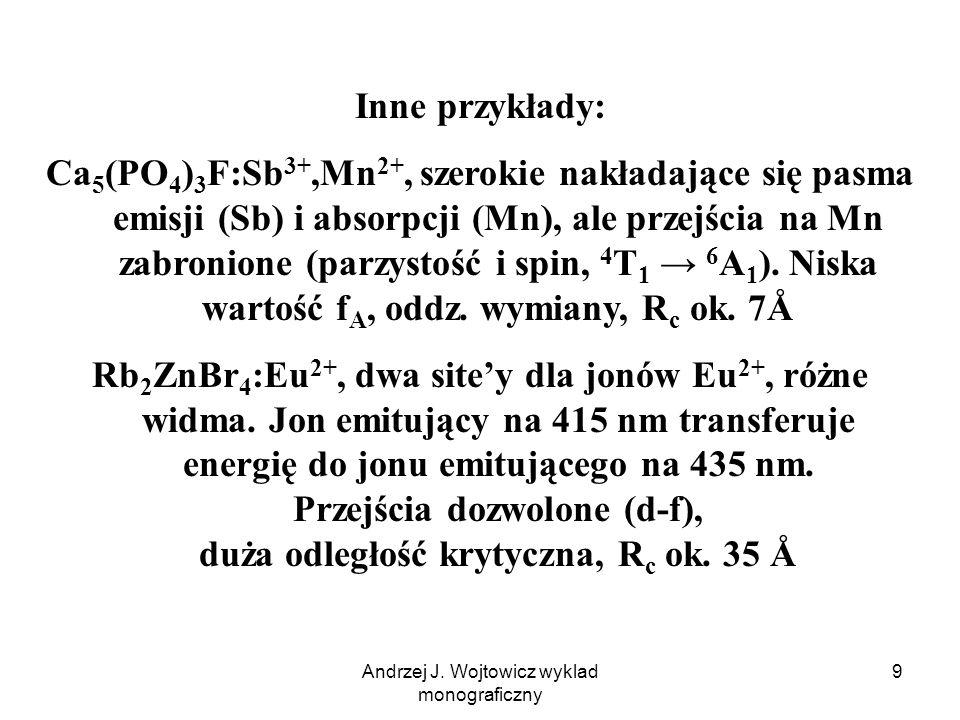 Andrzej J. Wojtowicz wyklad monograficzny 9 Inne przykłady: Ca 5 (PO 4 ) 3 F:Sb 3+,Mn 2+, szerokie nakładające się pasma emisji (Sb) i absorpcji (Mn),