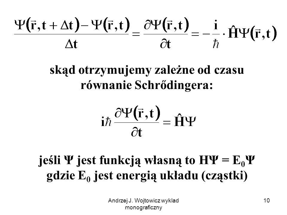 Andrzej J. Wojtowicz wyklad monograficzny 10 skąd otrzymujemy zależne od czasu równanie Schrődingera: jeśli Ψ jest funkcją własną to HΨ = E 0 Ψ gdzie