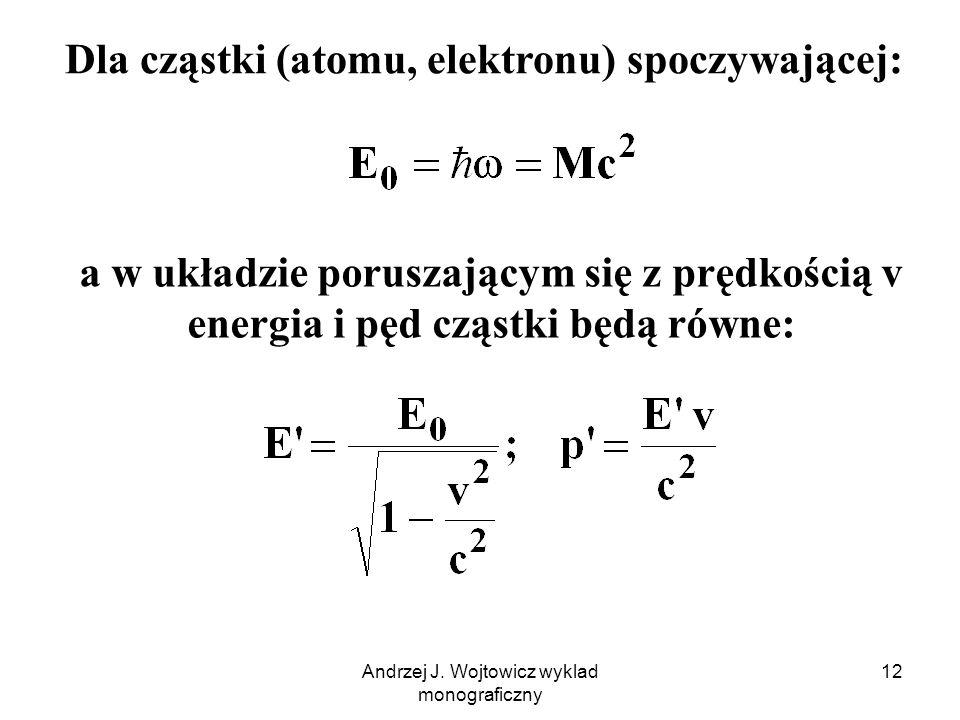 Andrzej J. Wojtowicz wyklad monograficzny 12 Dla cząstki (atomu, elektronu) spoczywającej: a w układzie poruszającym się z prędkością v energia i pęd