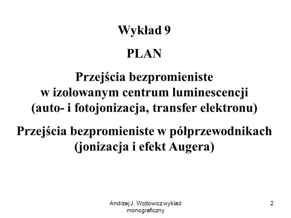 Andrzej J. Wojtowicz wyklad monograficzny 2 Wykład 9 PLAN Przejścia bezpromieniste w izolowanym centrum luminescencji (auto- i fotojonizacja, transfer