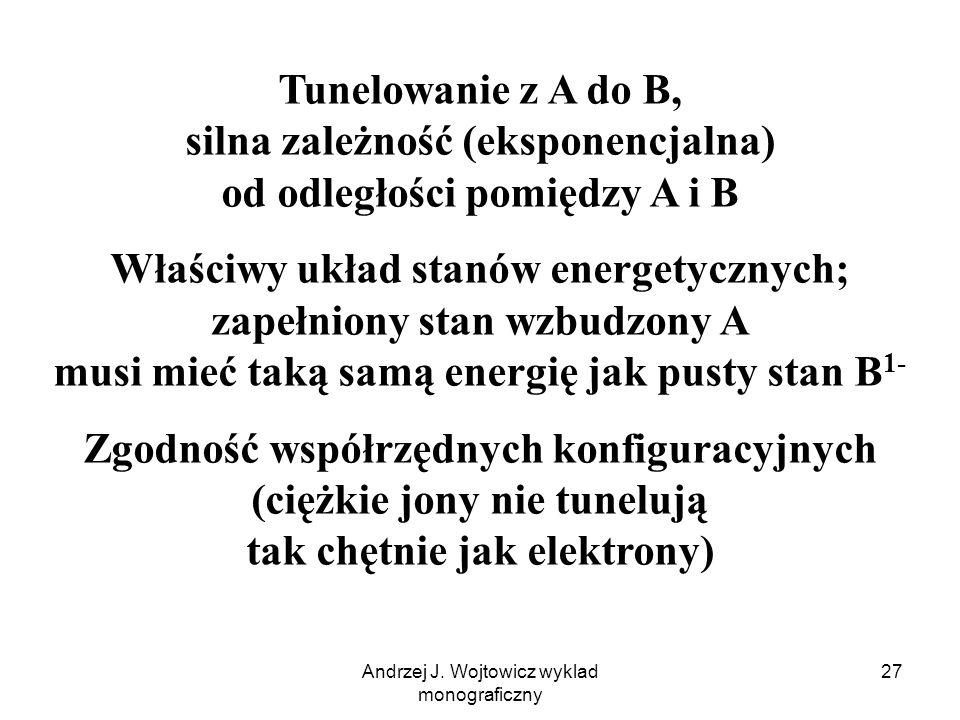 Andrzej J. Wojtowicz wyklad monograficzny 27 Tunelowanie z A do B, silna zależność (eksponencjalna) od odległości pomiędzy A i B Właściwy układ stanów