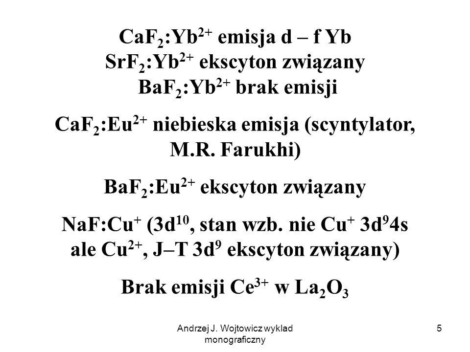 Andrzej J. Wojtowicz wyklad monograficzny 5 CaF 2 :Yb 2+ emisja d – f Yb SrF 2 :Yb 2+ ekscyton związany BaF 2 :Yb 2+ brak emisji CaF 2 :Eu 2+ niebiesk