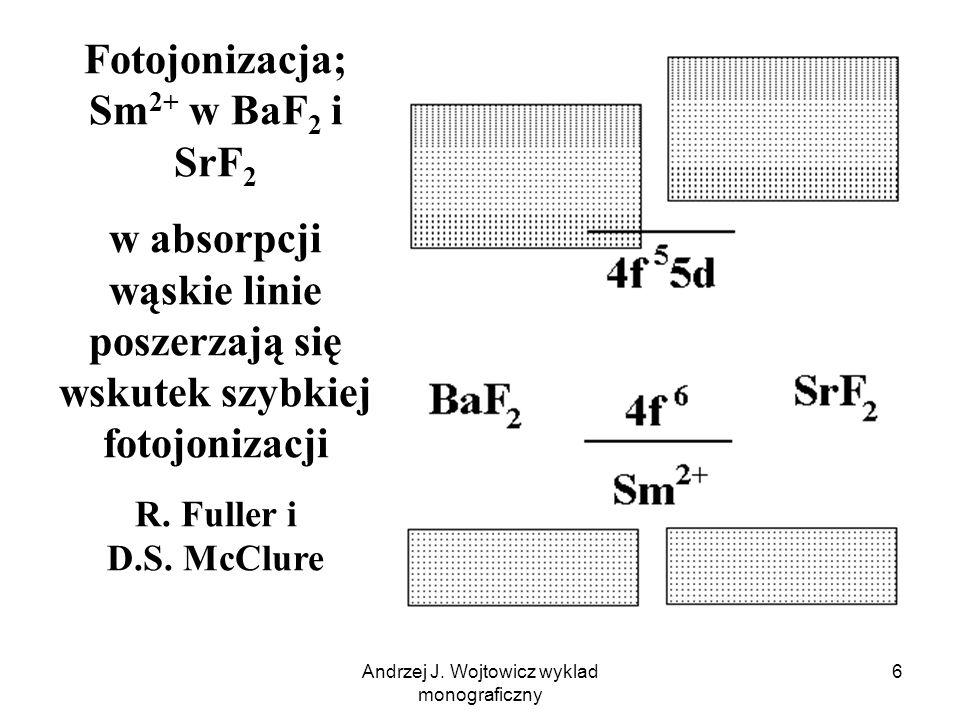 Andrzej J. Wojtowicz wyklad monograficzny 6 Fotojonizacja; Sm 2+ w BaF 2 i SrF 2 w absorpcji wąskie linie poszerzają się wskutek szybkiej fotojonizacj
