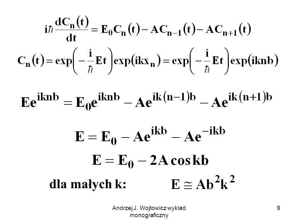 Andrzej J. Wojtowicz wyklad monograficzny 10 k, wektor falowy E, energia elektronu