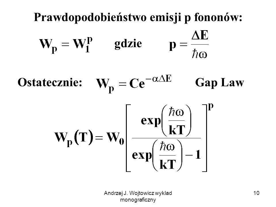Andrzej J. Wojtowicz wyklad monograficzny 10 Prawdopodobieństwo emisji p fononów: gdzie Ostatecznie: Gap Law