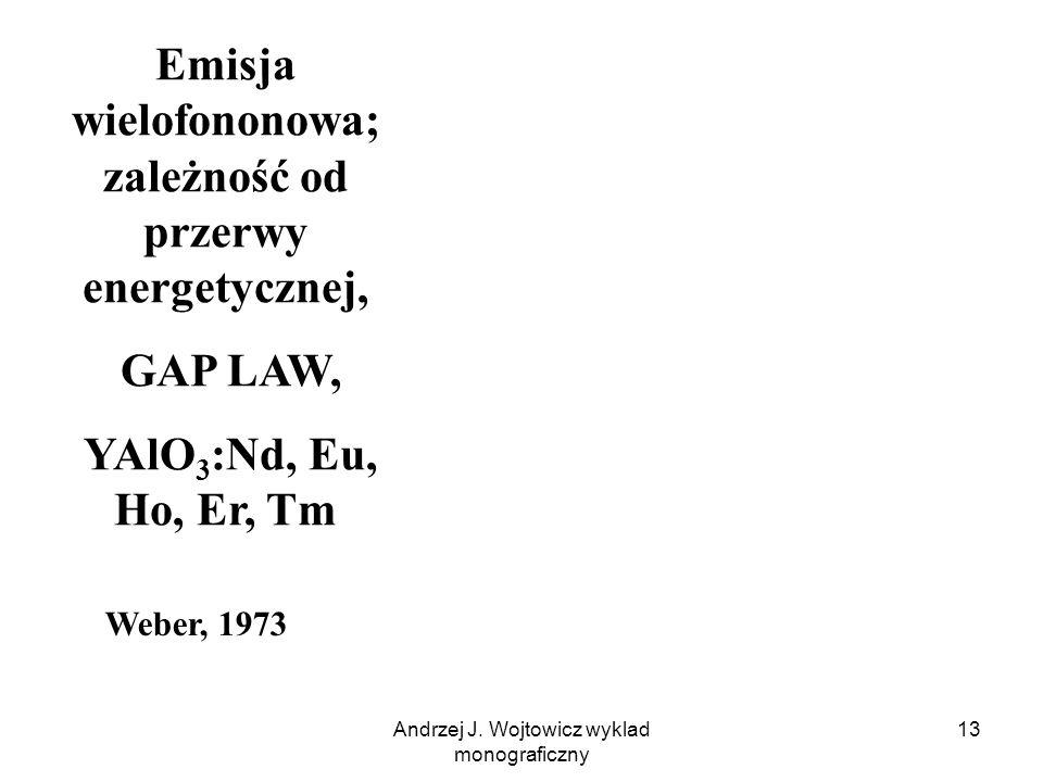 Andrzej J. Wojtowicz wyklad monograficzny 13 Emisja wielofononowa; zależność od przerwy energetycznej, GAP LAW, YAlO 3 :Nd, Eu, Ho, Er, Tm Weber, 1973