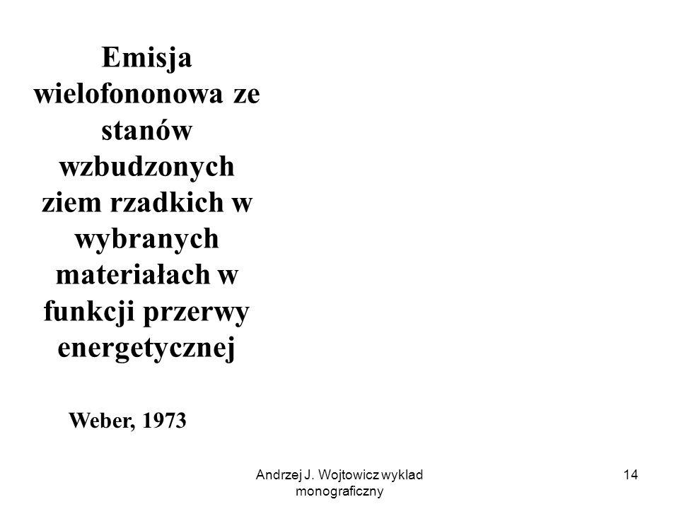 Andrzej J. Wojtowicz wyklad monograficzny 14 Emisja wielofononowa ze stanów wzbudzonych ziem rzadkich w wybranych materiałach w funkcji przerwy energe