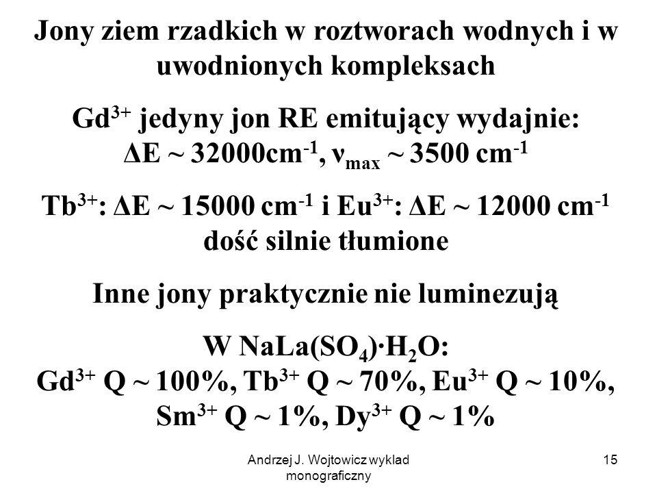 Andrzej J. Wojtowicz wyklad monograficzny 15 Jony ziem rzadkich w roztworach wodnych i w uwodnionych kompleksach Gd 3+ jedyny jon RE emitujący wydajni