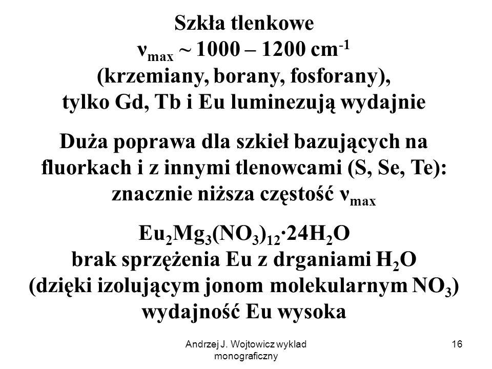 Andrzej J. Wojtowicz wyklad monograficzny 16 Szkła tlenkowe ν max ~ 1000 – 1200 cm -1 (krzemiany, borany, fosforany), tylko Gd, Tb i Eu luminezują wyd