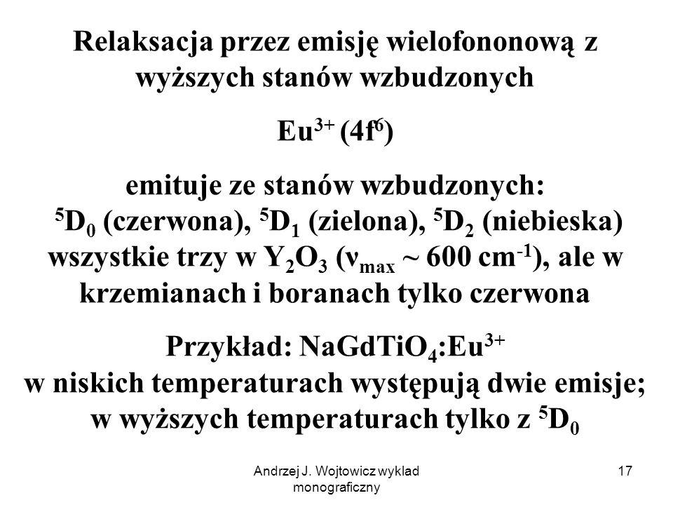 Andrzej J. Wojtowicz wyklad monograficzny 17 Relaksacja przez emisję wielofononową z wyższych stanów wzbudzonych Eu 3+ (4f 6 ) emituje ze stanów wzbud