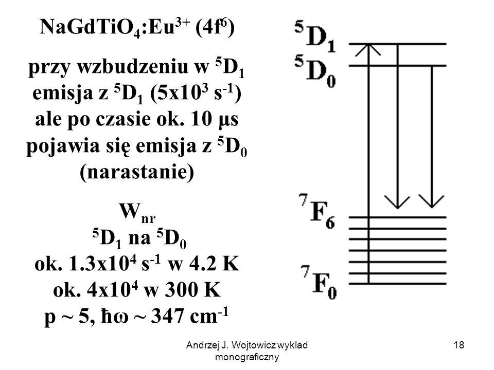 Andrzej J. Wojtowicz wyklad monograficzny 18 NaGdTiO 4 :Eu 3+ (4f 6 ) przy wzbudzeniu w 5 D 1 emisja z 5 D 1 (5x10 3 s -1 ) ale po czasie ok. 10 μs po