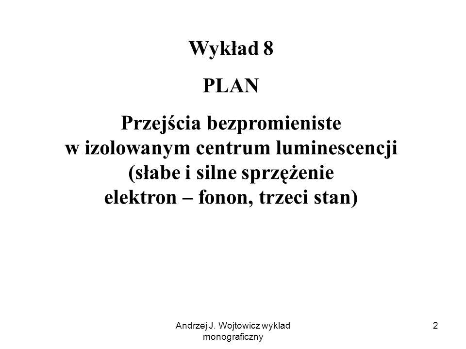 Andrzej J. Wojtowicz wyklad monograficzny 2 Wykład 8 PLAN Przejścia bezpromieniste w izolowanym centrum luminescencji (słabe i silne sprzężenie elektr